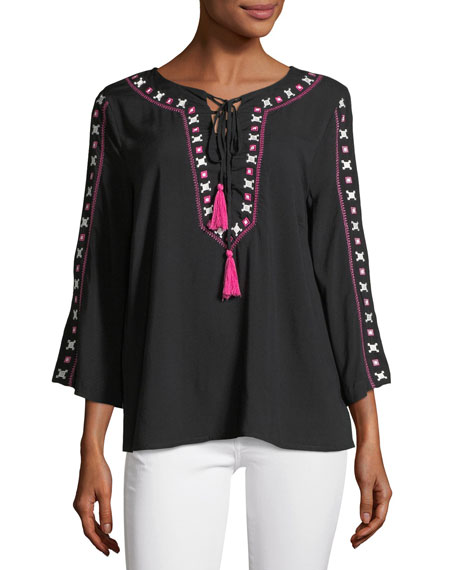 Embroidered Tasseled Blouse