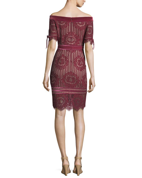 Off-the-Shoulder 1/2-Sleeve Lace Cocktail Dress