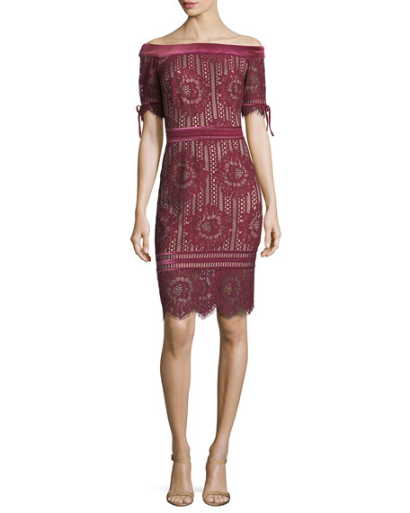 Tadashi Shoji Off-the-Shoulder 1/2-Sleeve Lace Cocktail Dress