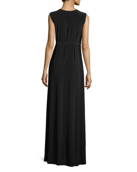 Jewel-Neck Sleeveless Column High-Slit Jersey Evening Dress