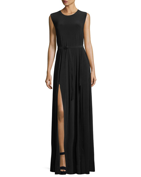 Norma Kamali Jewel-Neck Sleeveless Column High-Slit Jersey