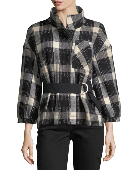 Derek Lam 10 Crosby Belted Drop-Shoulder Plaid Wool-Blend