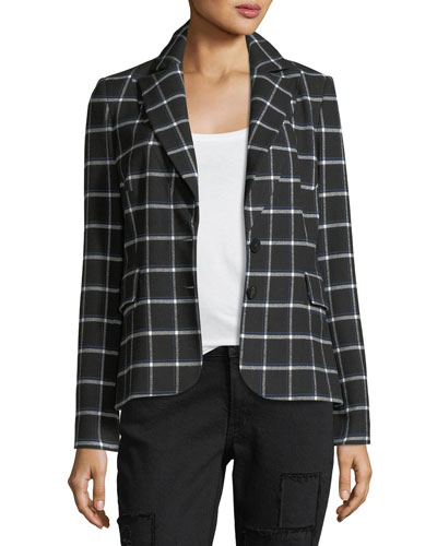 Grid-Print Two-Button Blazer w/ Elbow Patches
