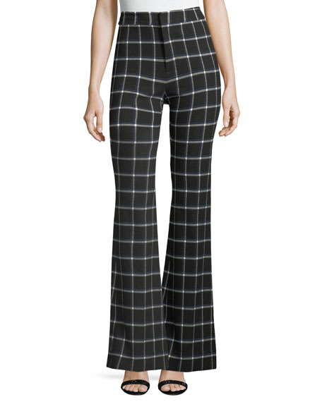 Derek Lam 10 Crosby High-Waist Grid-Print Flared-Leg Crepe