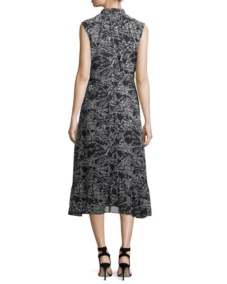 Sleeveless Mock-Neck Printed Midi Dress