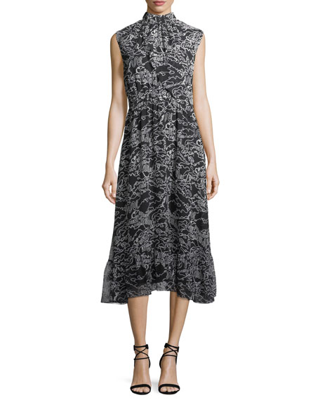 Derek Lam 10 Crosby Sleeveless Mock-Neck Printed Midi