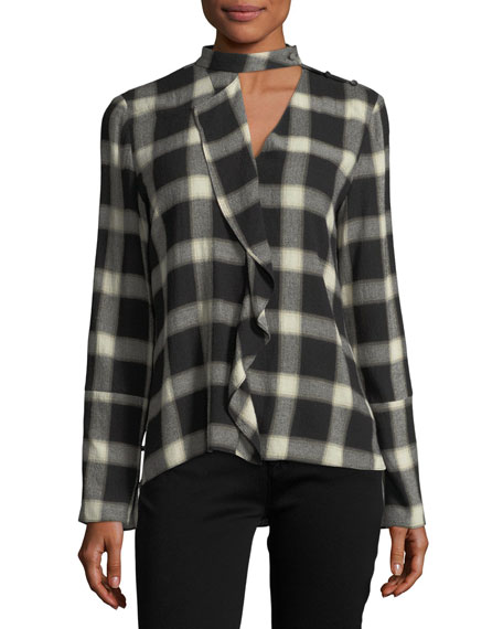 Derek Lam 10 Crosby Long-Sleeve Wool-Blend Grid-Print Blouse