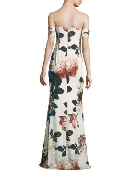Strapless Floral-Print Evening Gown