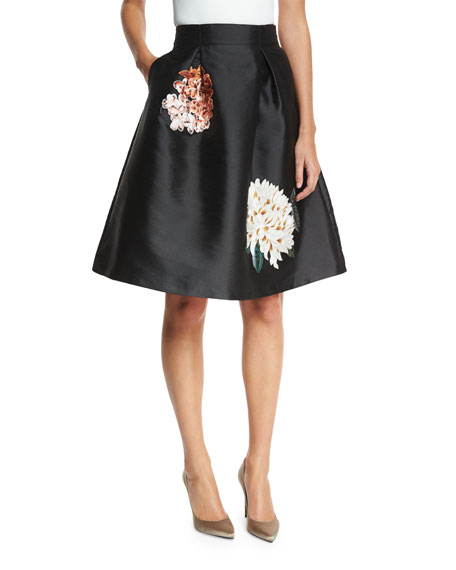 Devi Full Cocktail Skirt w/ Floral Appliques