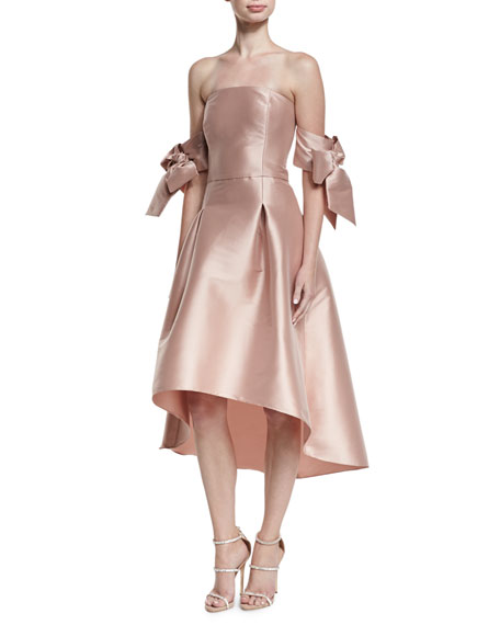Sachin Amp Babi Vani Strapless Bow Sleeve Fit And Flare