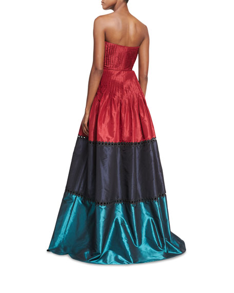 Delhi Strapless Colorblocked Pleated Taffeta Evening Gown