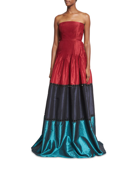 Sachin & Babi Delhi Strapless Colorblocked Pleated Taffeta