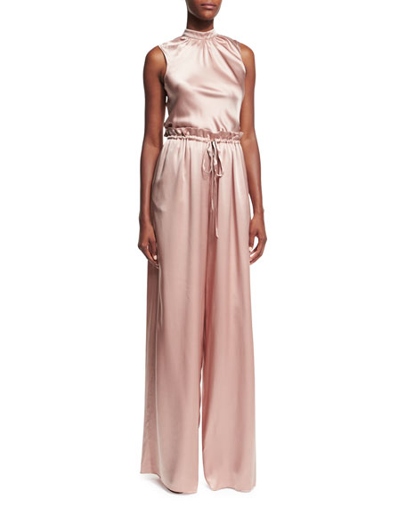 Rao High-Waist Drawstring Wide-Leg Satin Pants