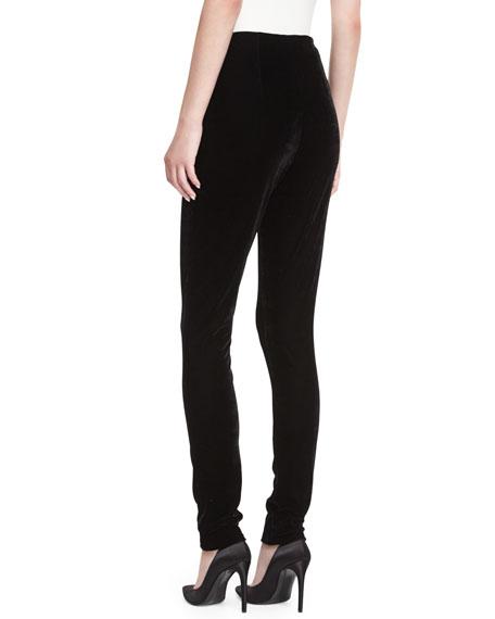 Bahl High-Waist Velvet Skinny-Leg Pants
