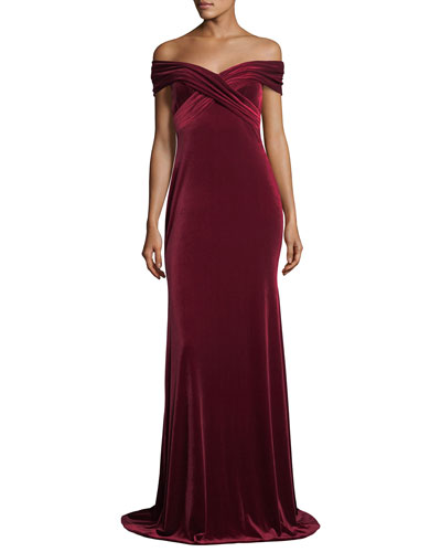 Off-the-Shoulder Draped Velvet Evening Gown