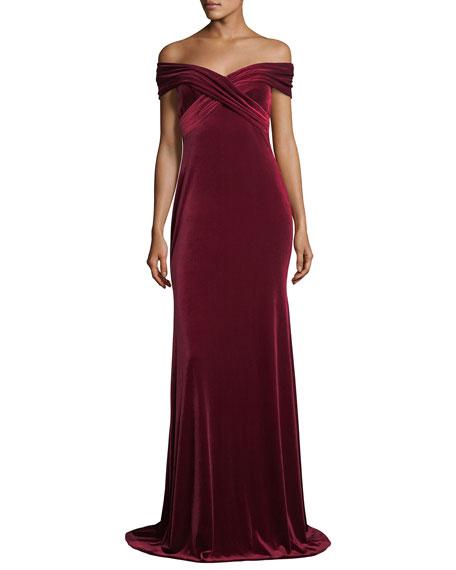 Off-the-Shoulder Draped Velvet Evening Gown