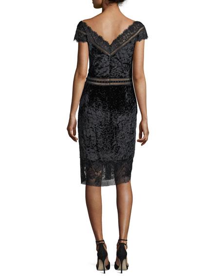 V-Neck Velvet Burnout Sheath Cocktail Dress w/ Lace