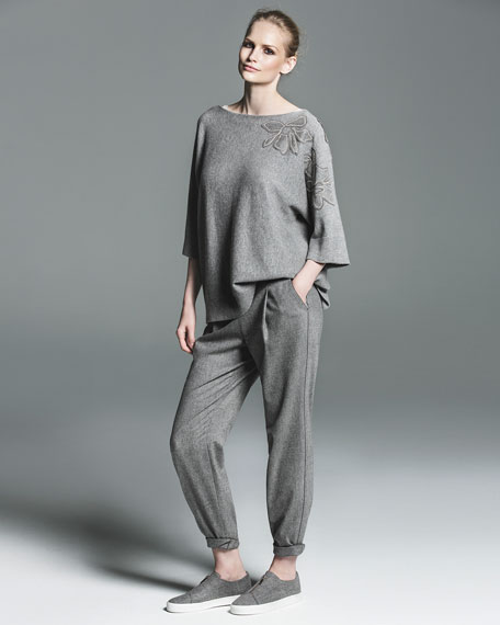 Vanise Luxe Cashmere Sweater w/ Chain-Trim Floral Appliqué