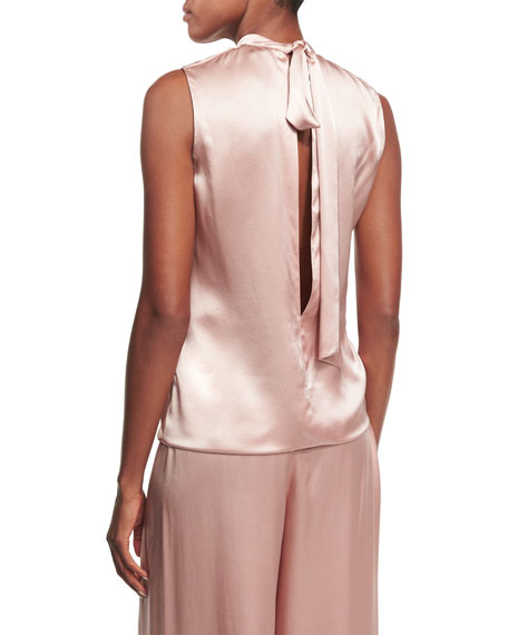 Rani High-Neck Sleeveless Satin Blouse