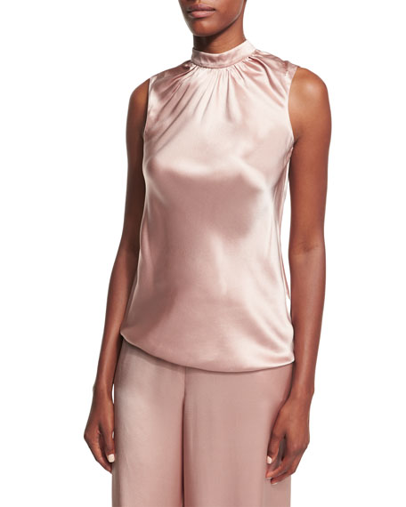 Sachin & Babi Rani High-Neck Sleeveless Satin Blouse