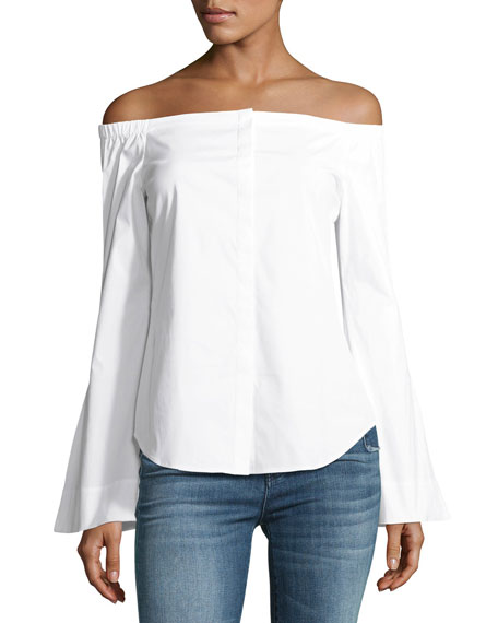 Auriana B Off-the-Shoulder Stretch-Cotton Top