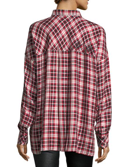 Tamara Oversized Button-Front Plaid Shirt