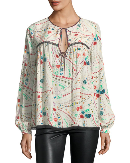 Tangara Split-Neck Printed Peasant Top