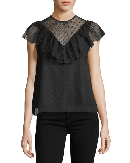 Helena Flutter-Sleeve Dotted Tulle Blouse