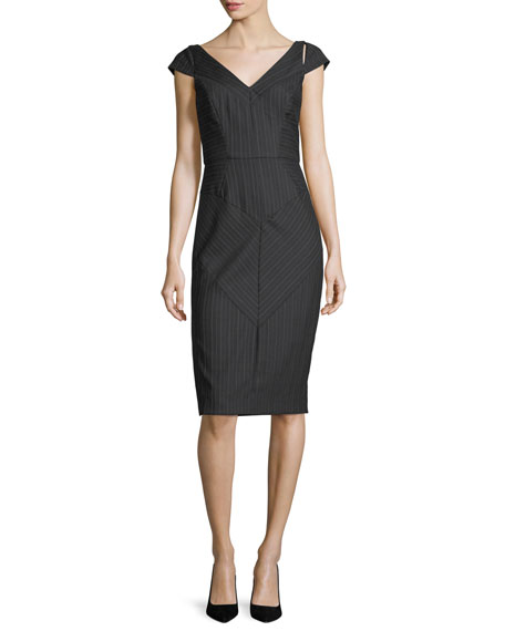 Milly Larissa Cap-Sleeve Pinstriped Sheath Dress