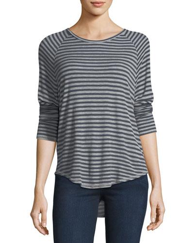 Anne Crewneck Long-Sleeve Striped Raglan Top