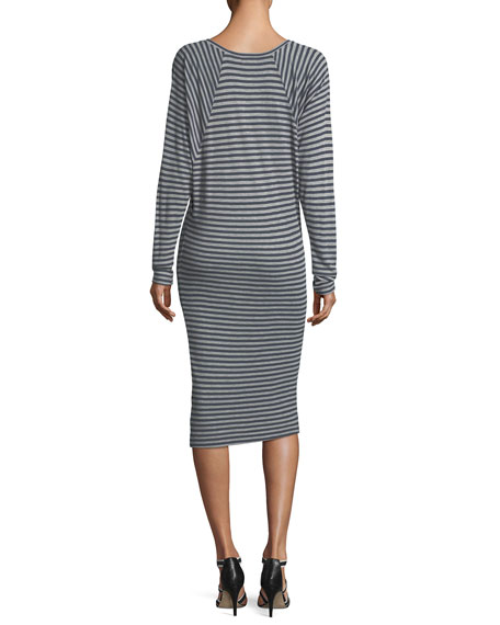 Gabby Striped Raglan Long-Sleeve Rib Knit Dress