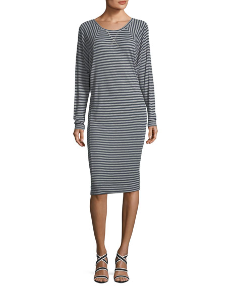 Gabby Striped Raglan Long-Sleeve Rib Knit Dress