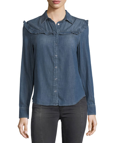 Joanna Spread-Collar Snap Denim Shirt w/ Ruffles