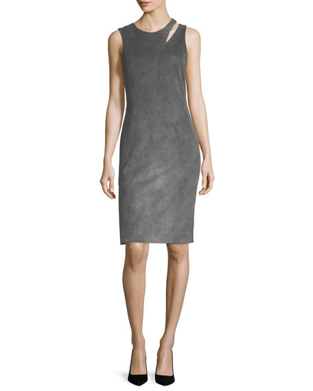Faux-Suede Fractured Sheath Dress