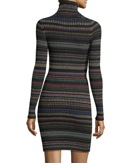 Metallic Striped Sweater Dress