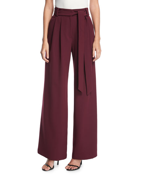 Milly Natalie Tie-Waist Wide-Leg Pants