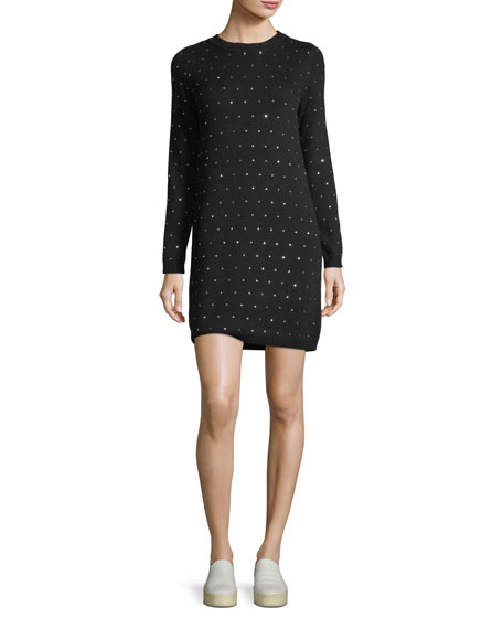 Geometric Crystal-Embellished Sweater Dress
