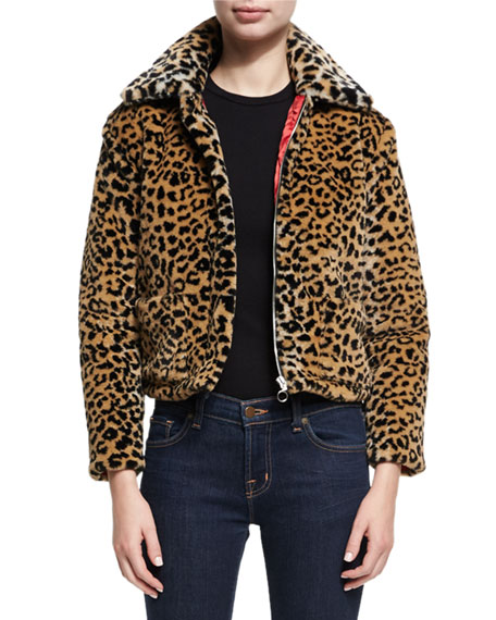 Alexa Chung Faux-Fur Animal Zip-Front Jacket