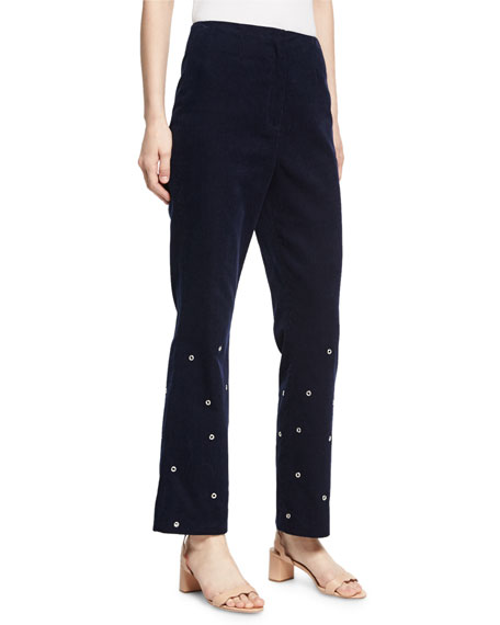 Alexa Chung Flared High-Waist Corduroy Trousers w/ Grommets