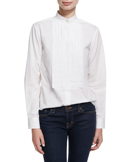 Alexa Chung Pleated Placket Long-Sleeve Tuxedo Shirt