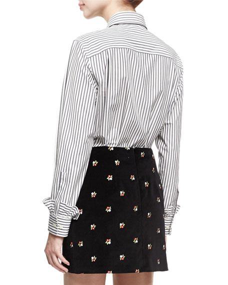Frill Placket Striped Poplin Shirt