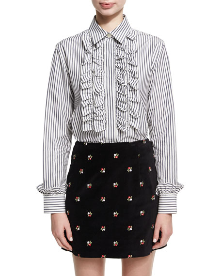 Alexa Chung Frill Placket Striped Poplin Shirt