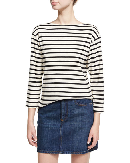 Alexa Chung Breton Striped Bracelet-Sleeve Top