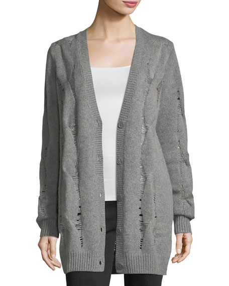 AG Sandrine Button-Front Oversized Wool-Blend Cardigan