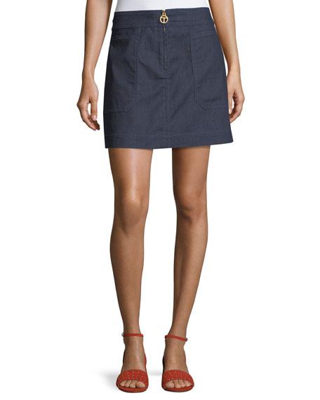 Tory Burch Elise Denim A-line Zip Miniskirt