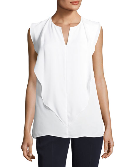 Front-Drape Silk Georgette Top