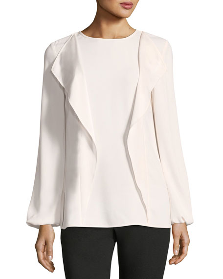 Lightweight Satin-Back Crepe Blouse