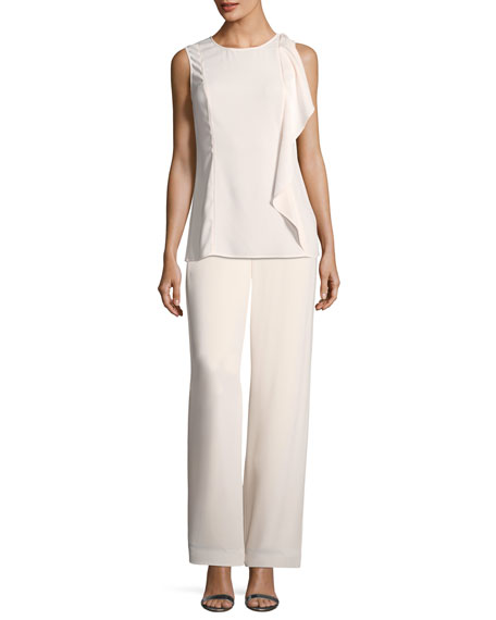 Lightweight Crepe Straight-Leg Pants