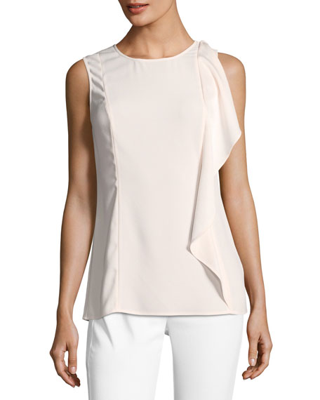 St. John Collection Lightweight Satin-Back Crepe Top