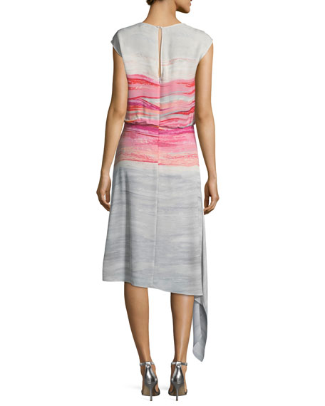 Brushstroke-Print Satin Silk Asymmetric Dress